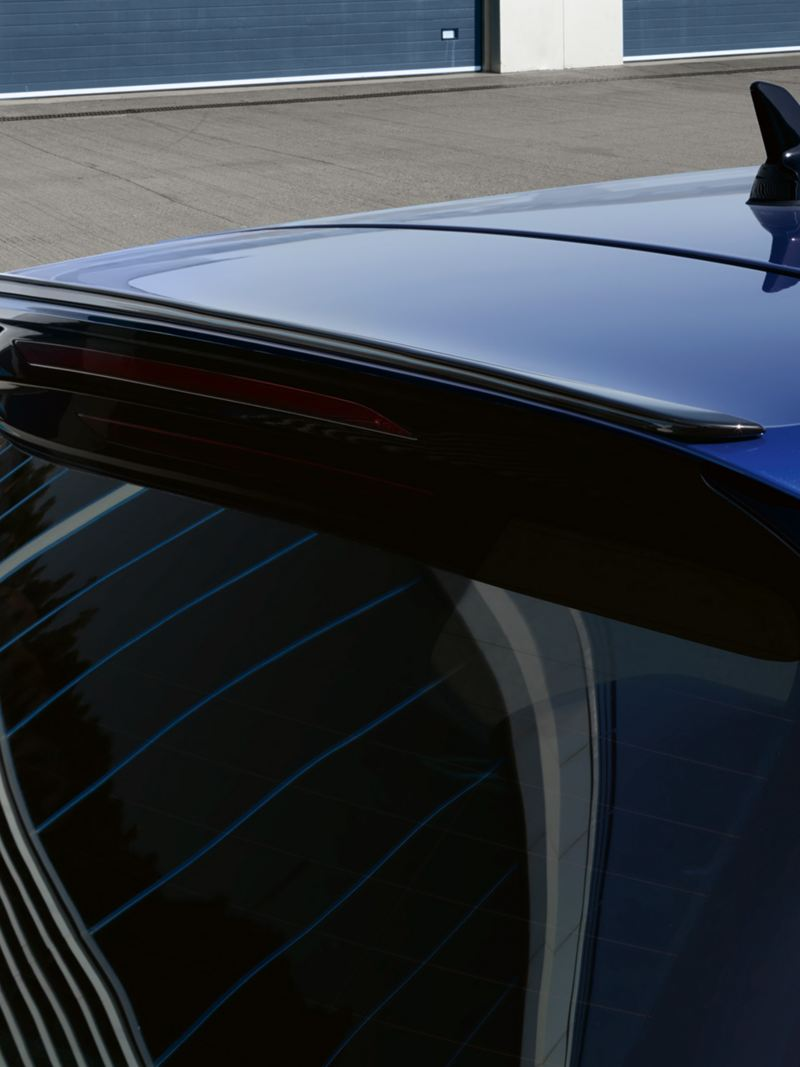 VW Golf R detail of the rear with roof spoiler