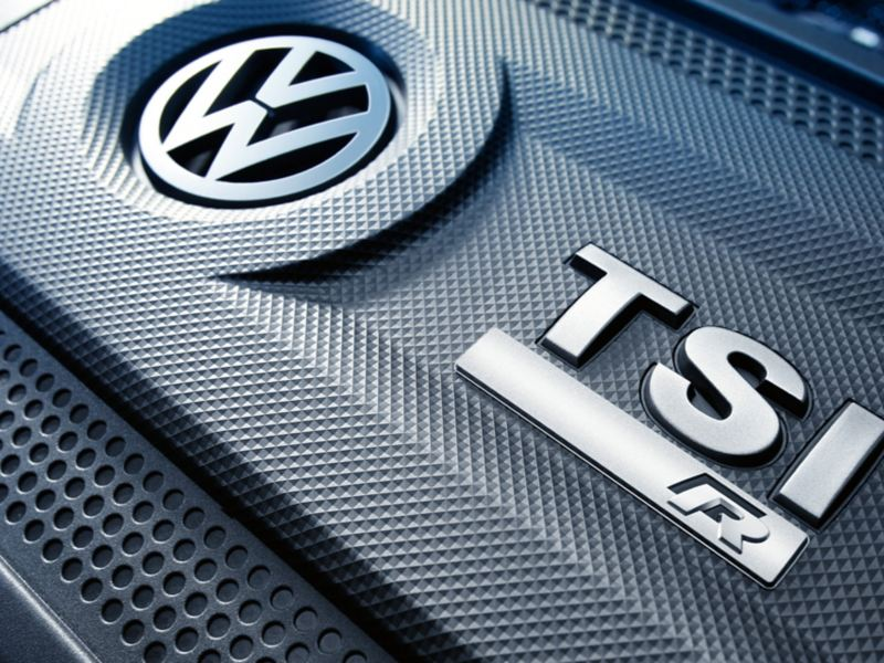 VW Golf R engine cover with TSI engine badge