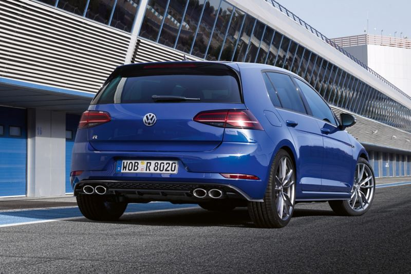 Standing VW Golf R rear view, standing in the pit lane
