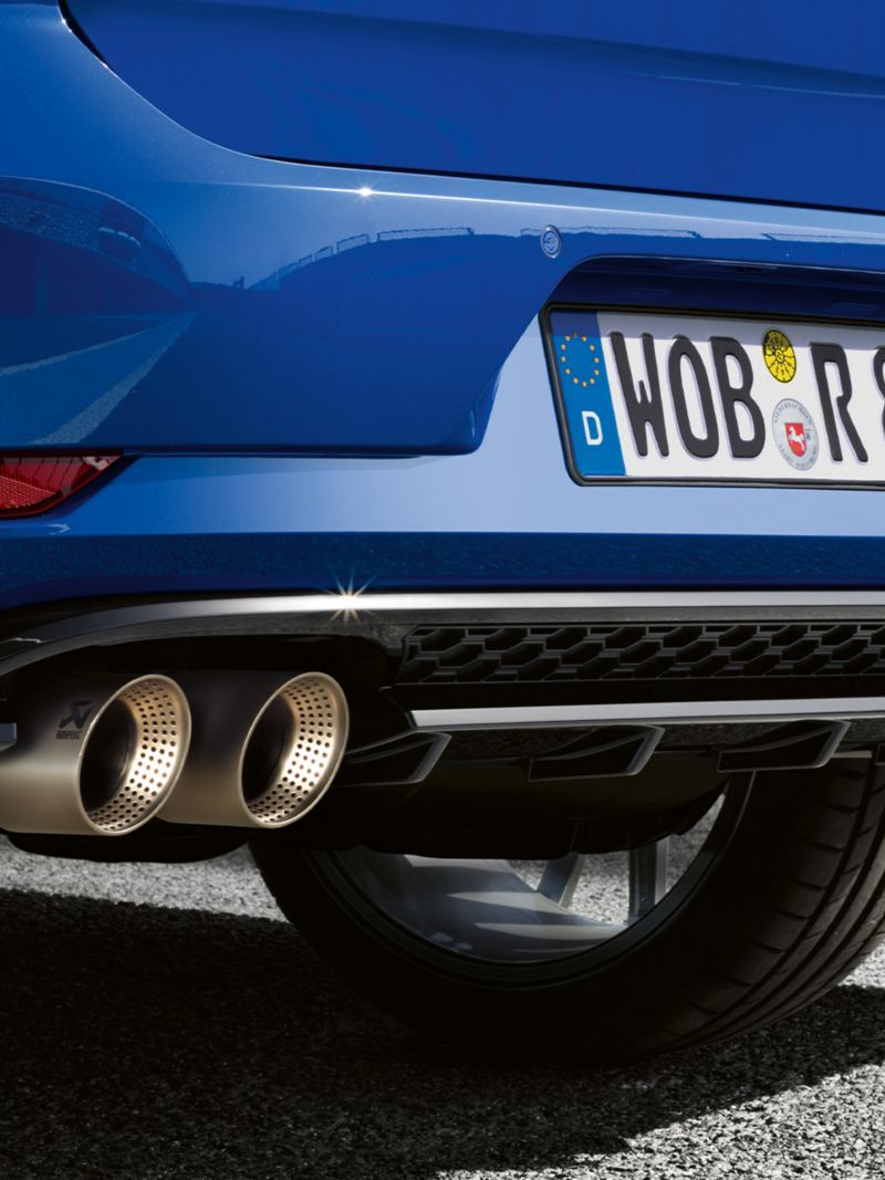 Detail of the VW Golf R rear with tail pipes