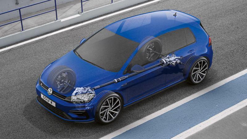 Une VW Golf Variant R semi-transparente avec vue sur la technologie de transmission4MOTION.