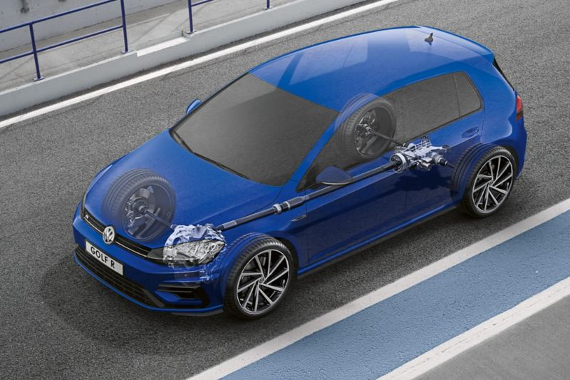 semi-transparent VW Golf R Estate, the 4Motion propulsion technology is visible