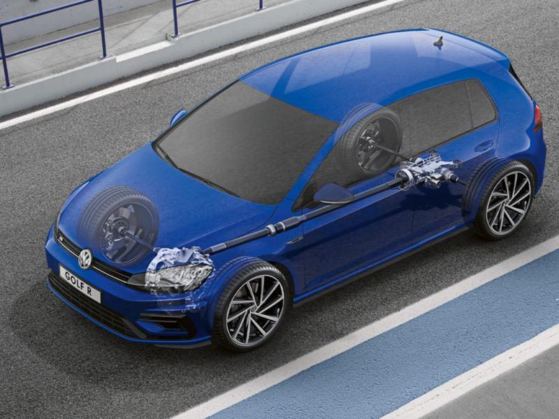 Halbdurchsichtiger VW Golf R Variant mit Blick auf 4MOTION Antriebstechnologie
