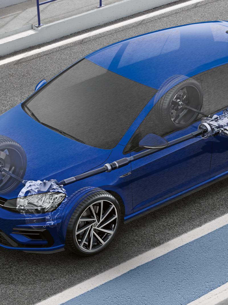 Półprzejrzysty VW Golf R Variant z widokiem technologii 4MOTION