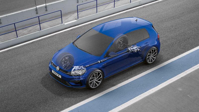 Schematyczne przedstawienie sprzęgła na wszystkie koła w VW Golfie R
