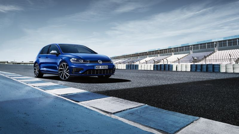 VW Golf R standing on a racetrack, view from the side