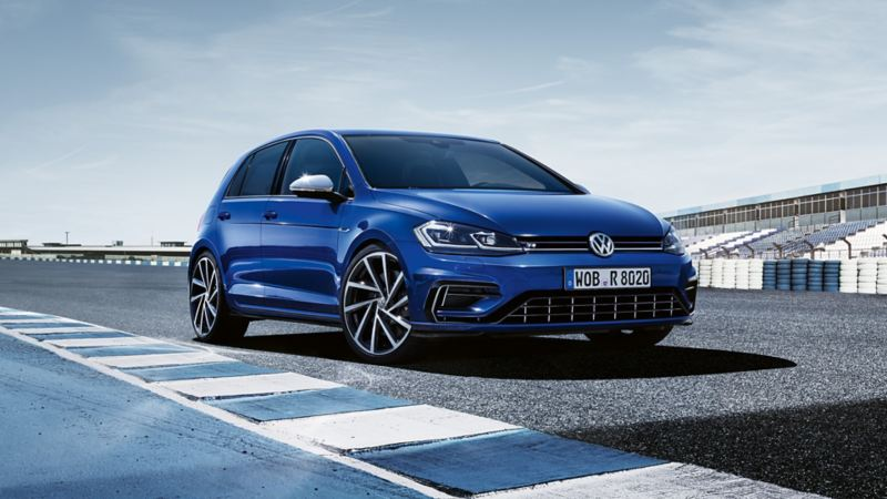 VW Golf R on a racetrack, front view