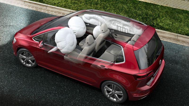 Schematyczne przedstawienie poduszek powietrznych w Volkswagenie