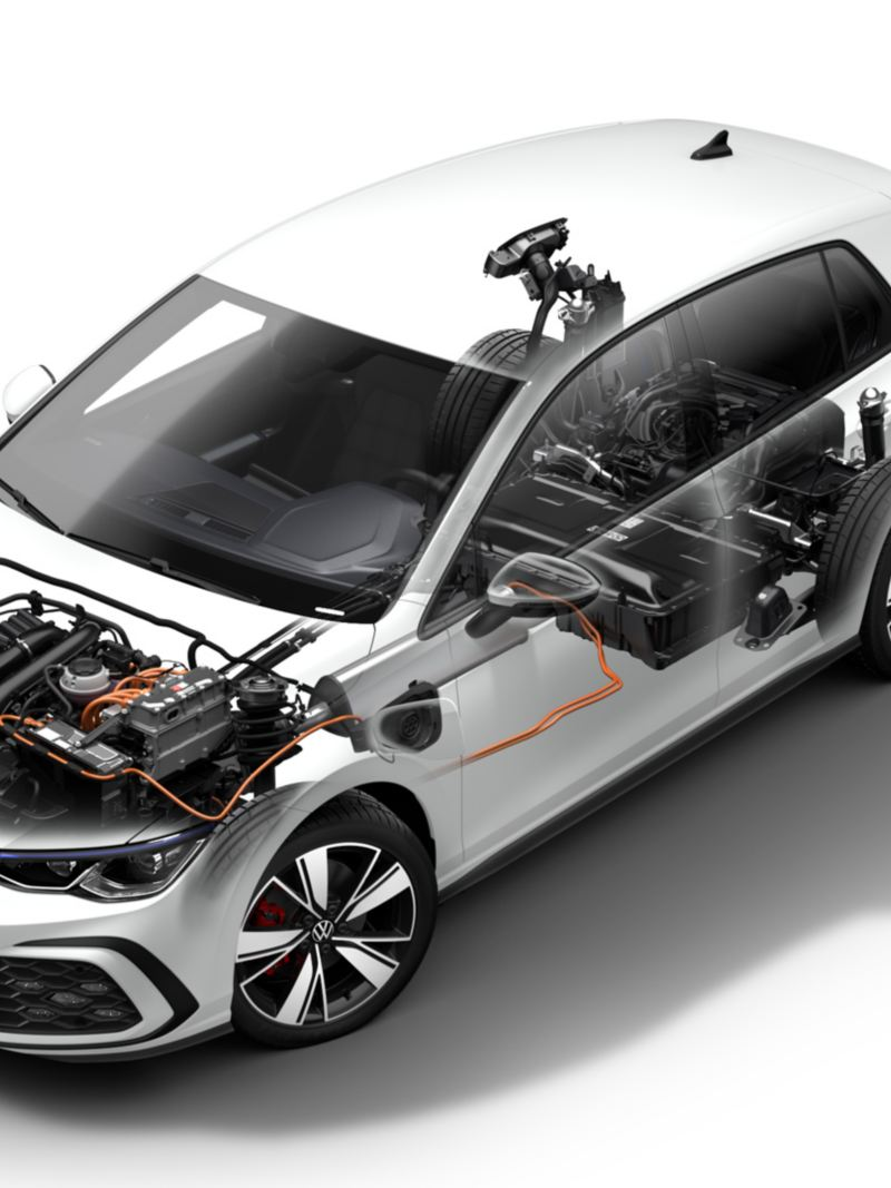 VW Golf GTE, technical representation of the hybrid drive, view from above / front / side