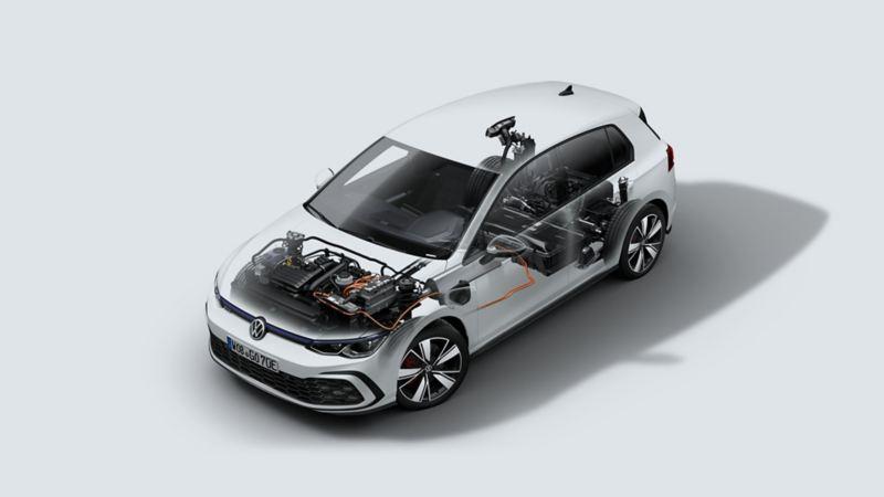 VW Golf GTE, technische Darstellung von Hybrid-Antrieb, Sicht von oben/vorne/seite