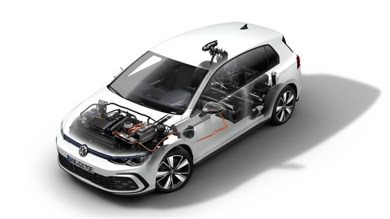 Illustrazione tecnica del funzionamento del motore di Volkswagen Golf 8 GTE