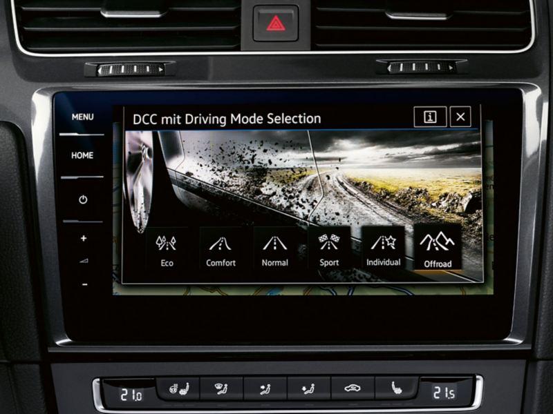 Navigationssystem Discover Pro, skärmen visar körlägesväljaren i Golf Alltrack