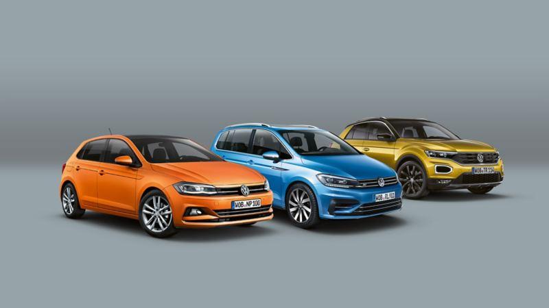 Range aus VW Polo, VW Sharan, VW T-Roc vor grauem Hintergrund
