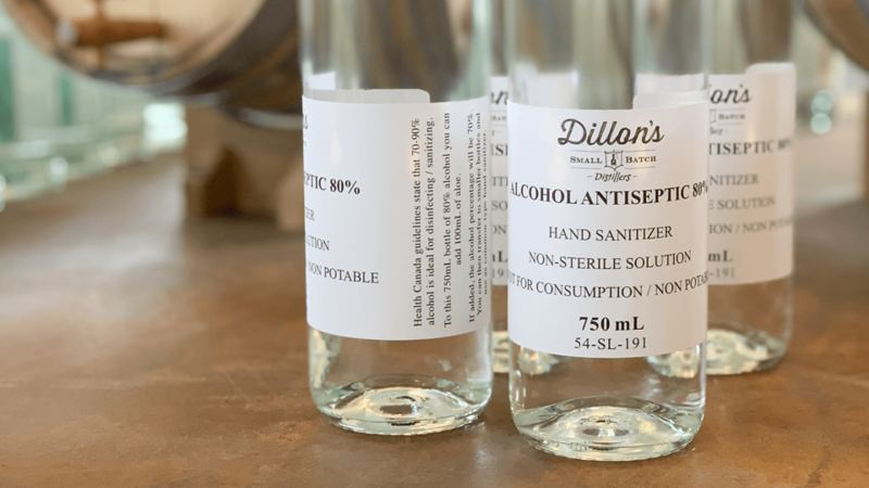 Dillon's Small Batch Distiller's alcohol-based sanitizer