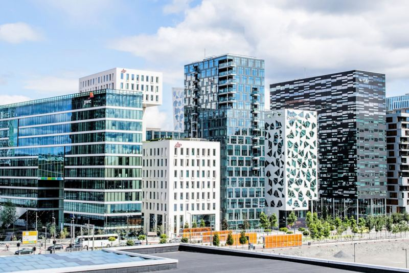 Modern financial district in Norway