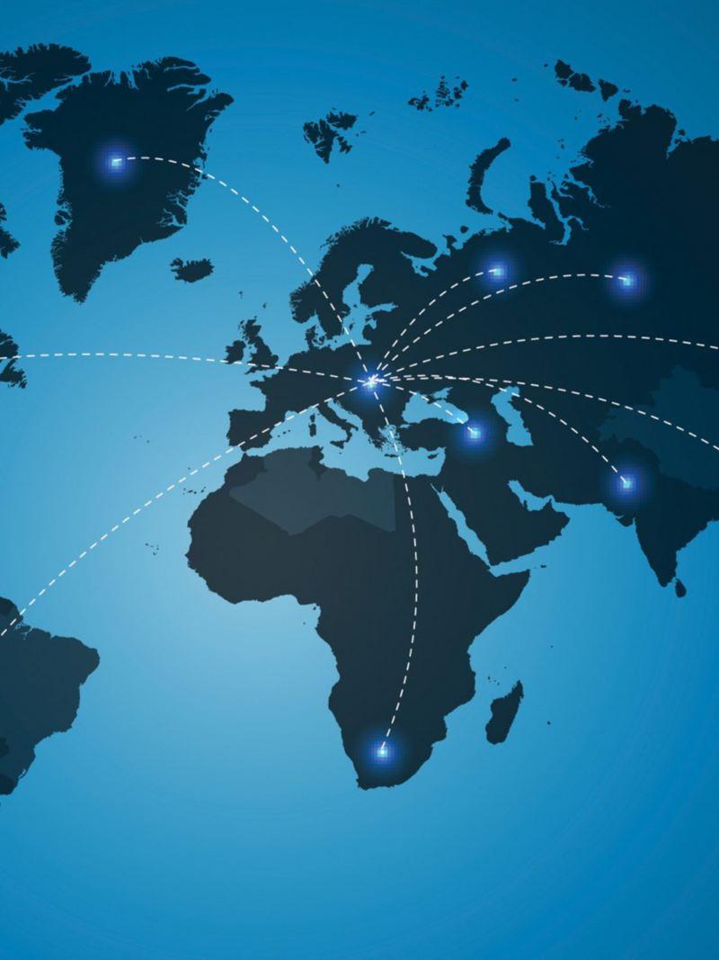 Eine Weltkarte mit Verbindungslinien.