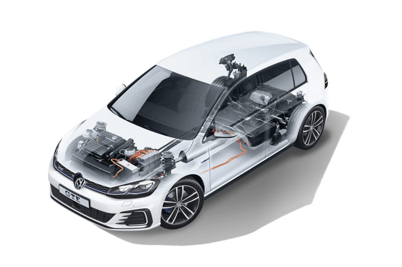 a transparent Golf GTE, the battery and engine are visible
