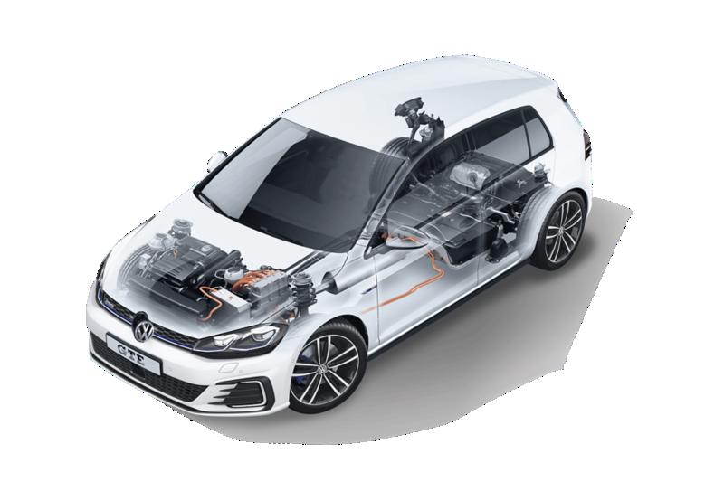Volkswagen Golf GTE: scocca trasparente con batteria e motore visibili.