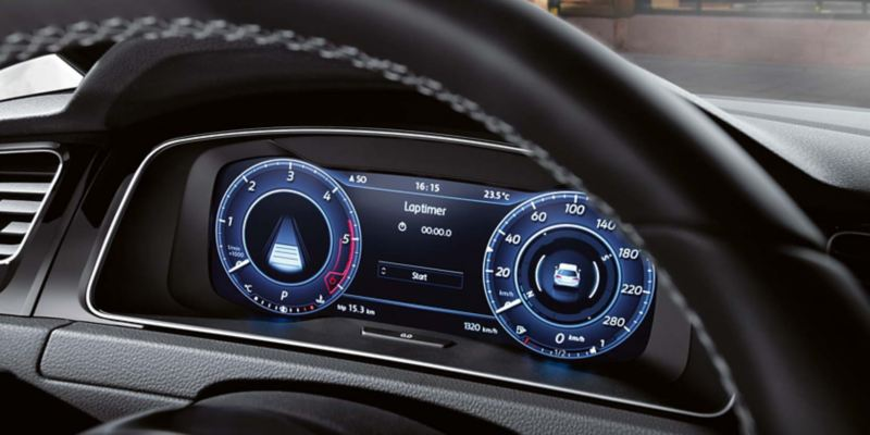 Close up of the active info display in the Golf GTI