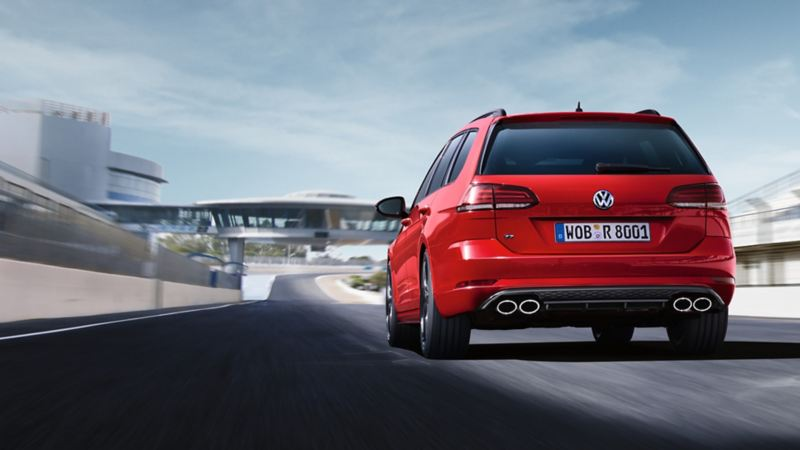 Golf R Variant driving on a racetrack, displaying the back
