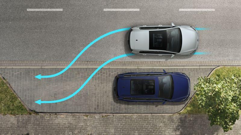 VW Golf TGI performs a parking maneuver sideways