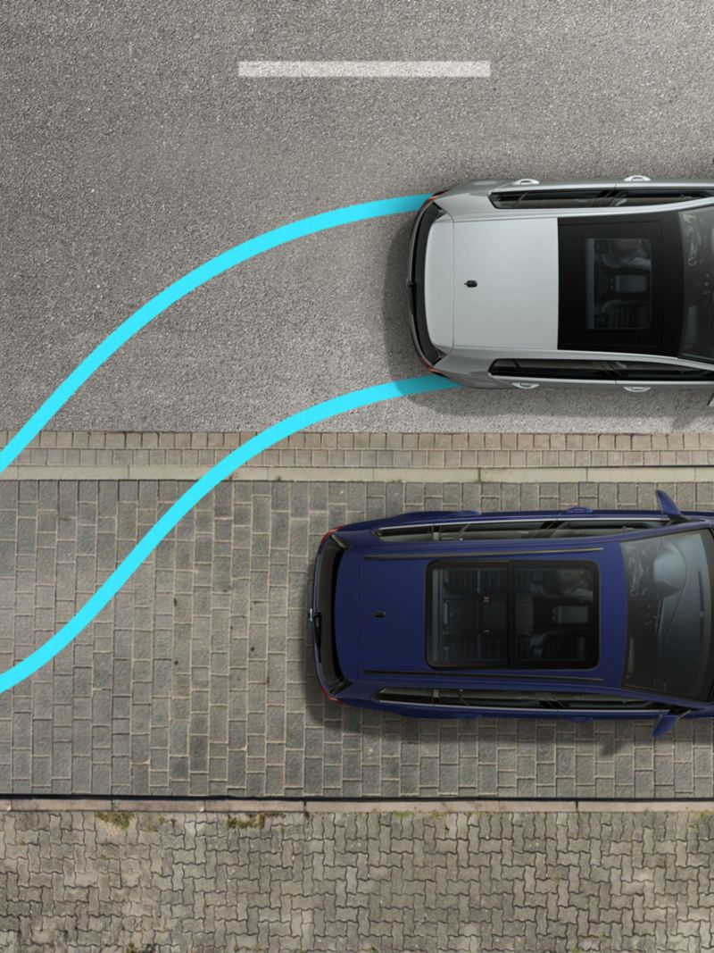VW Golf TGI performs a parking maneuver sideways