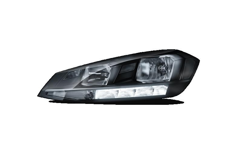 Immagine senza sfondo dei proiettori anteriori alogeni con luci diurne accese di Golf Alltrack