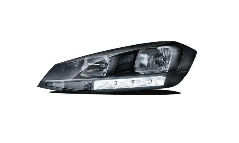 Image détourée des phares halogènes avant avec feux de jour activés de la VW Golf Alltrack