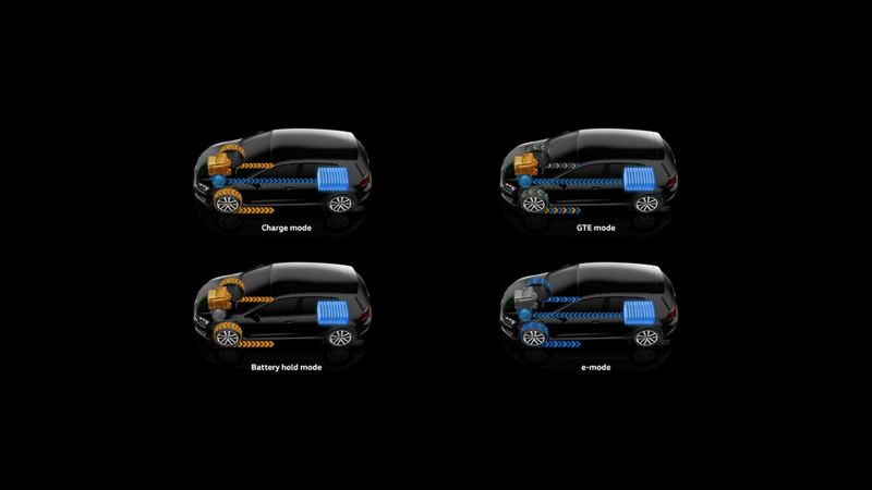 The four Golf GTE electric car driving modes