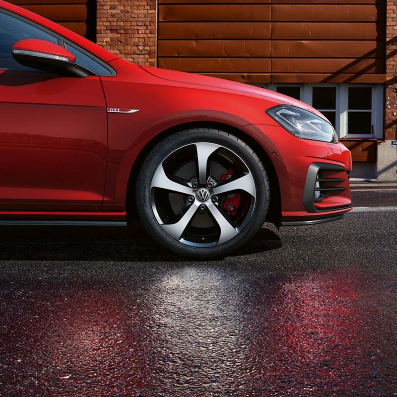 Red Golf GTI wheel
