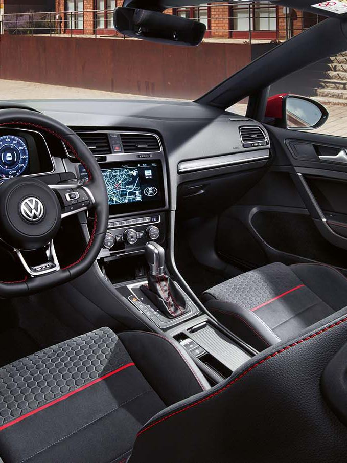The Golf GTI interior view with red stitching finish