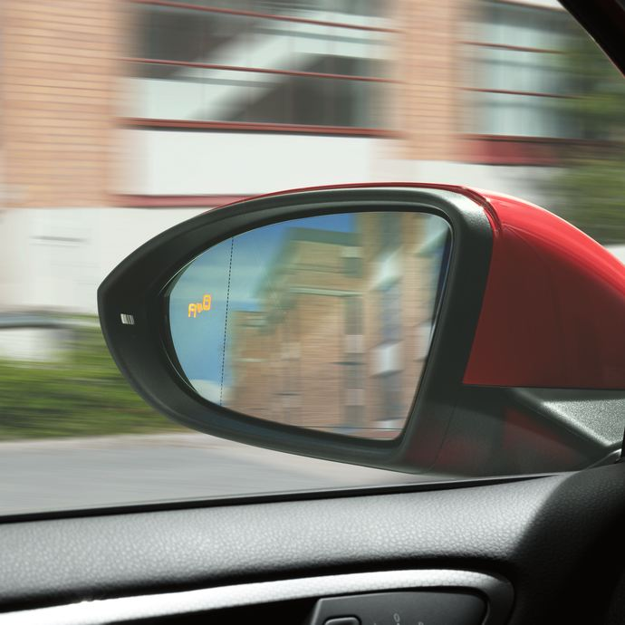 The Golf GTI side-mirror blind-spot detection