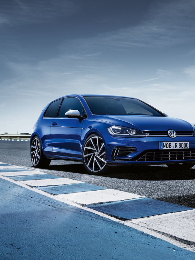 Blue Golf R parked on a racetrack