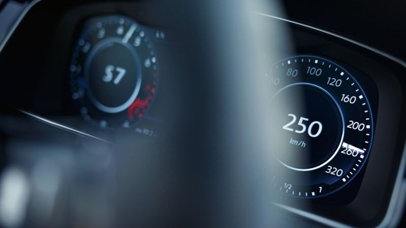 The Volkswagen Golf R's active info display, close up, showing top speed