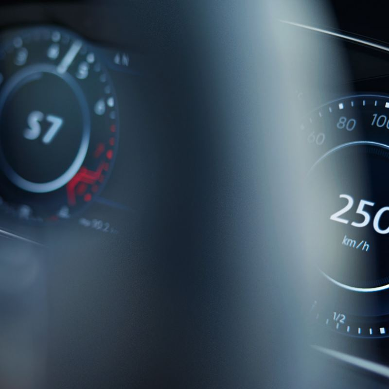 Closeup view of the Active Info Display, showing speed and gear, in the Volkswagen Golf R