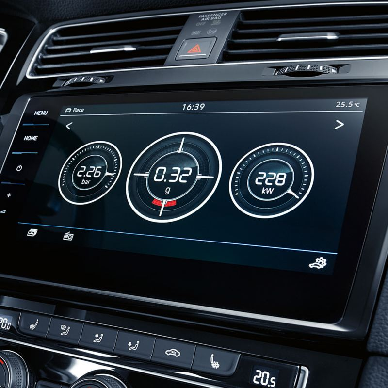 Touch screen display with performance stats in a Volkswagen Golf R MK7