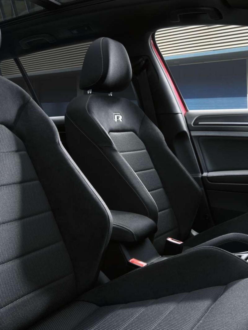 Interior of a Volkswagen Golf R MK7 featuring the sport bucket seats