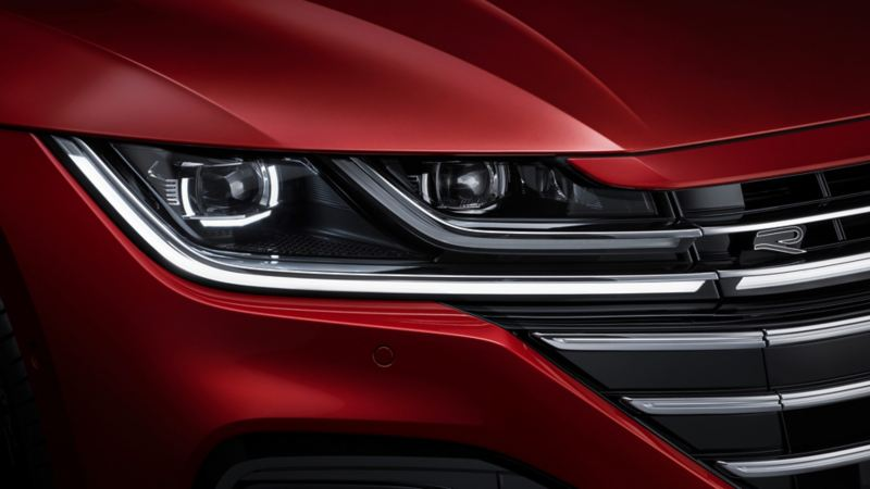A close up of the Arteon grille and headlights