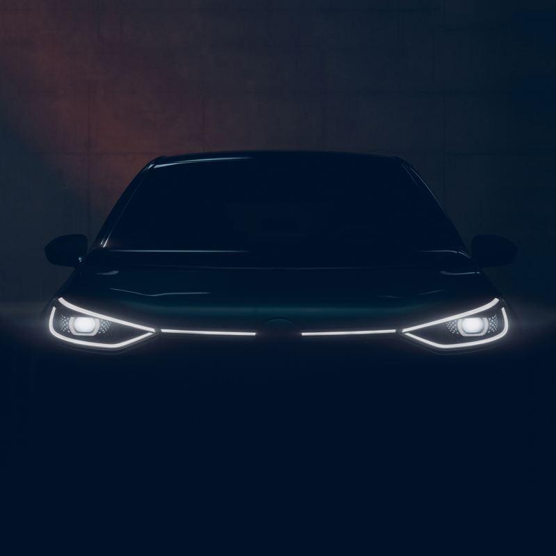 Beleuchtungskonturen an einer VW ID. 3 Front im Dunkeln, Blick von vorne