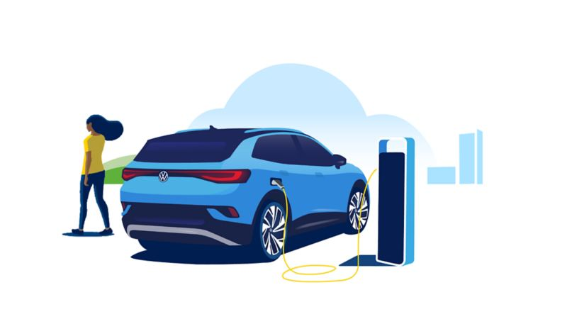 An illustrated ID.4 being charged at a charging station