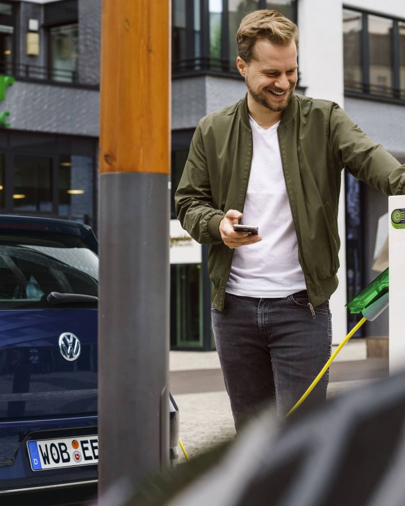 A Volkswagen e-Golf is charged.