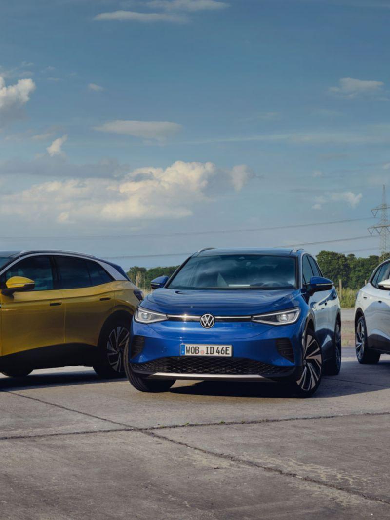 VW Volkswagen ID.4 elbil SUV i forskjellige farger sett forfra