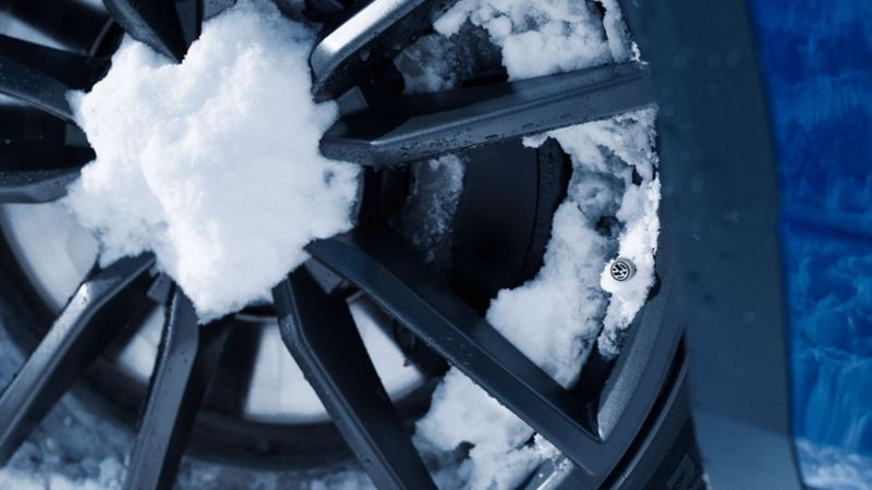 Snow covered car tires