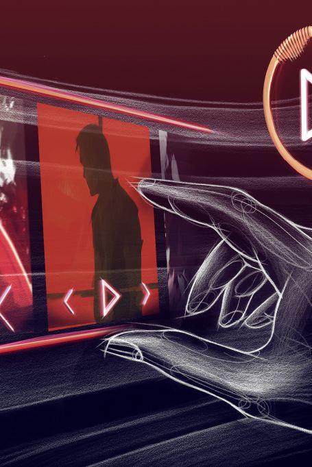 3d-modell av en hand som kontrollerar entertainmentsystement i ID. Vizzion genom gester.