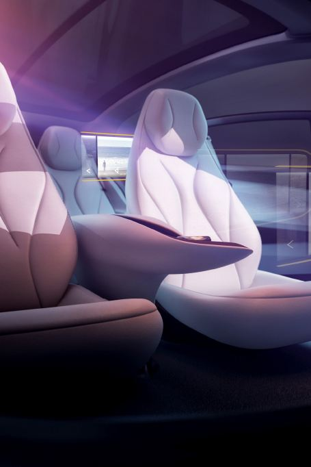 Modèle 3D de l'habitacle de l'ID. Vizzion, où les écrans, projetés par réalité augmentée, sont représentés.