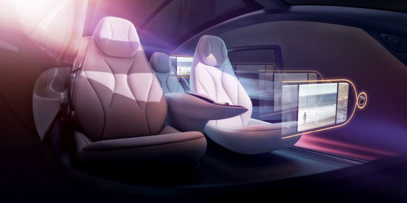Modèle 3D de l'intérieur de l'ID. Vizzion montrant les écrans projetés grâce à la réalité augmentée.