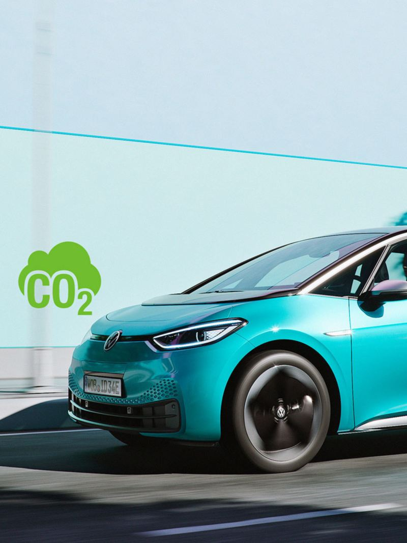 CO2-neutrala Volkswagen ID.3 i rörelse.