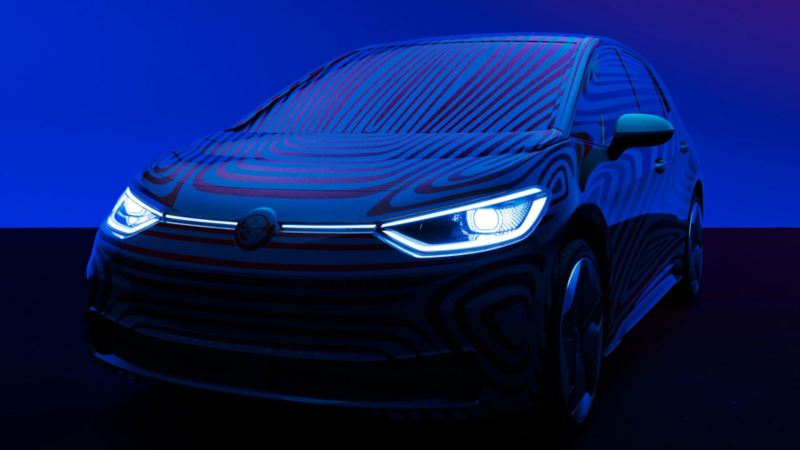 Volkswagen ID.3 sett forfra i mørkt rom