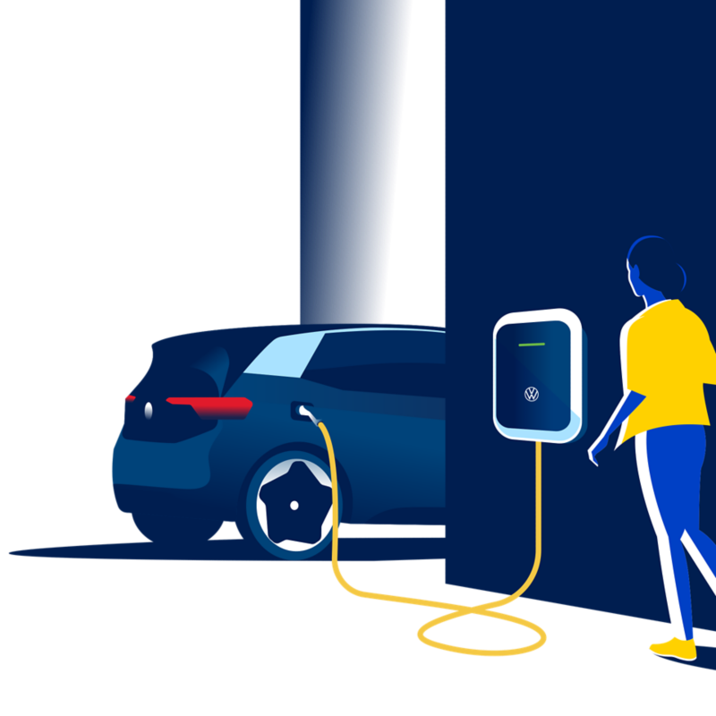 Illustration: En person går emot Volkswagens laddbox och en ID.3.