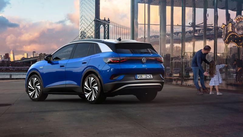 Volkswagen ID.4 Dusk Blue Metallic Parked near the building